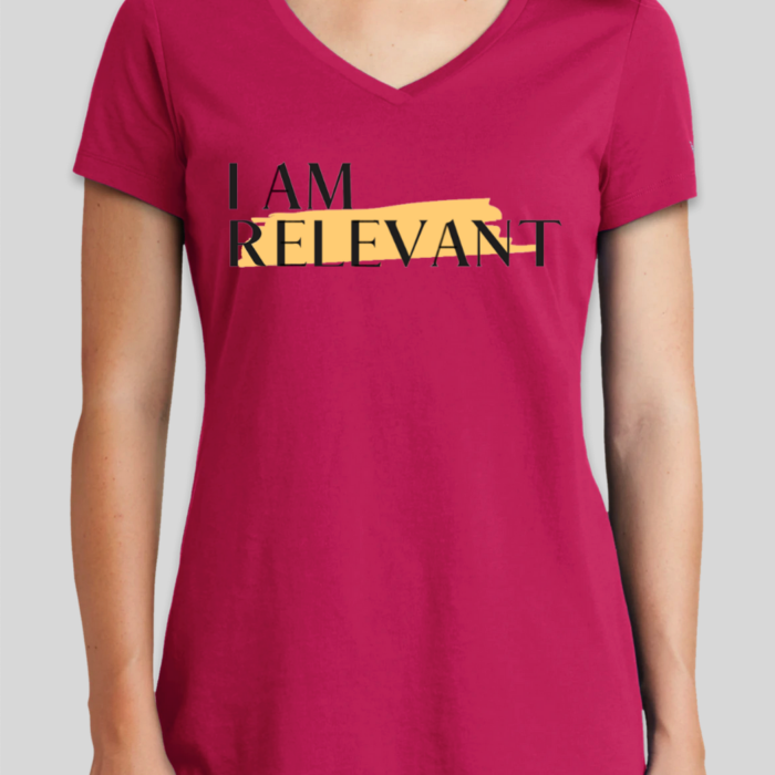 Deep Pink Women's New Era Hertiage Blend V-Neck